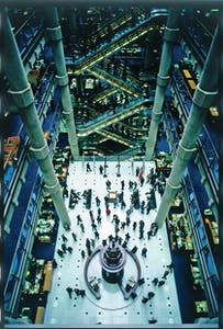The atrium at Lloyds of London, Richard Rogers Partnership (1978–86)