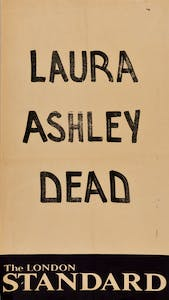 Newsstand poster announcing the death of Laura Ashley (1985)
