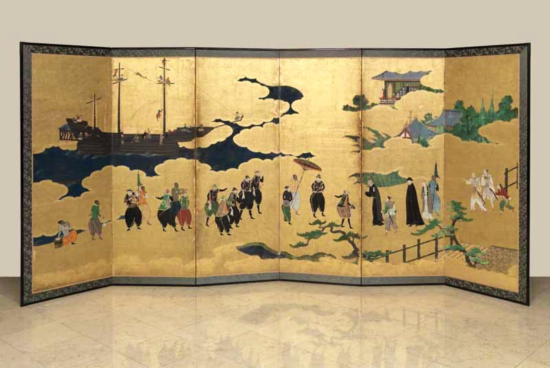 Namban Folding Screen (Edo era, 1615–1868), Japanese,