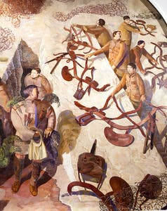 Detail from Stanley Spencer's painted scheme at the Sandham Memorial Chapel (1927–32)