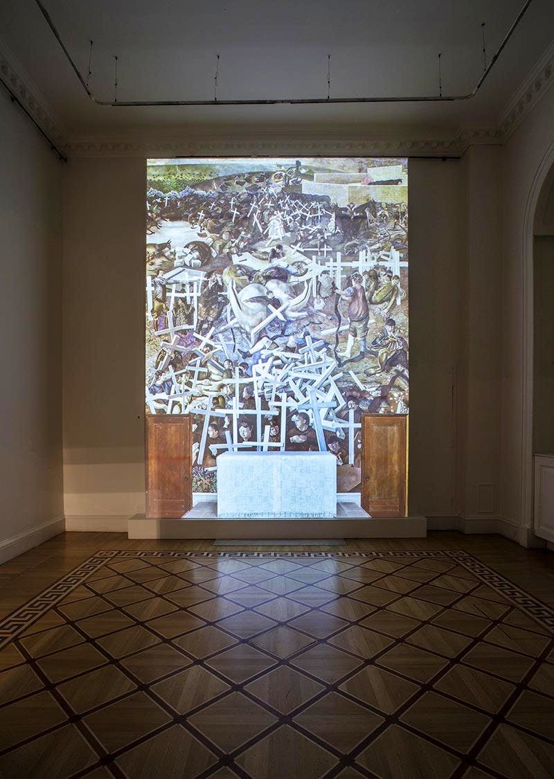 Digital display of Stanley Spencer's 'The Resurrection' at Somerset House