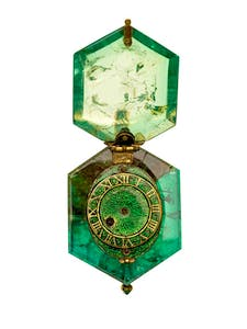 Watch set in a single Colombian emerald crystal (c. 1600), part of the Cheapside Hoard