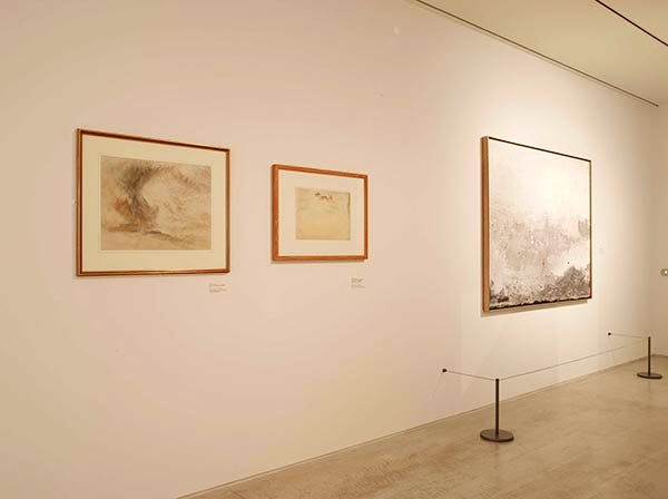 Installation view with Helen Frankenthaler's 'Barometer' (right)