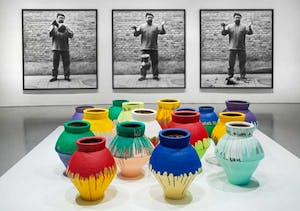 'Ai Weiwei Dropping a Han Dynasty Urn' and 'Colored Vases'. Installation view of 'Ai Weiwei: According to What?' at the Hirshhorn Museum, 2012