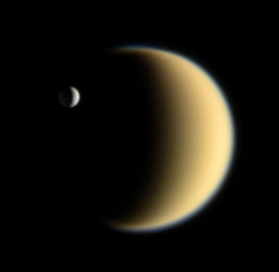 Enceladus transiting the moon Titan on 5 February 2006
