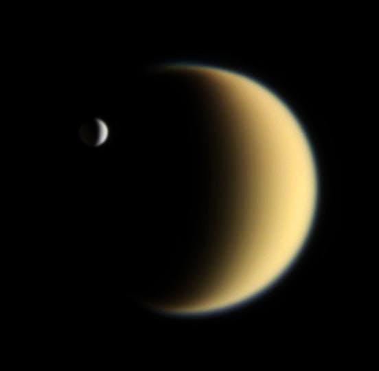 Enceladus transiting the moon Titan on 5 February 2006