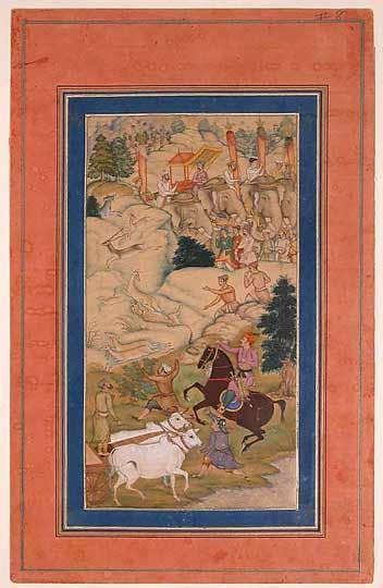 A folio from the Akbarnama, India, (c. 1604), attributed to Manohar.