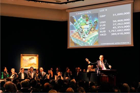 Christie's evening sales of Impressionist, Modern and Surrealist Art realised the highest total for any art auction held in London