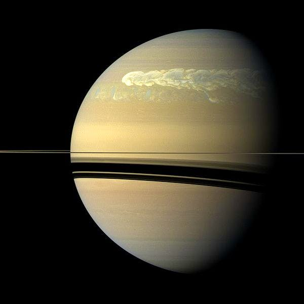 A storm girdles the planet Saturn in 2011