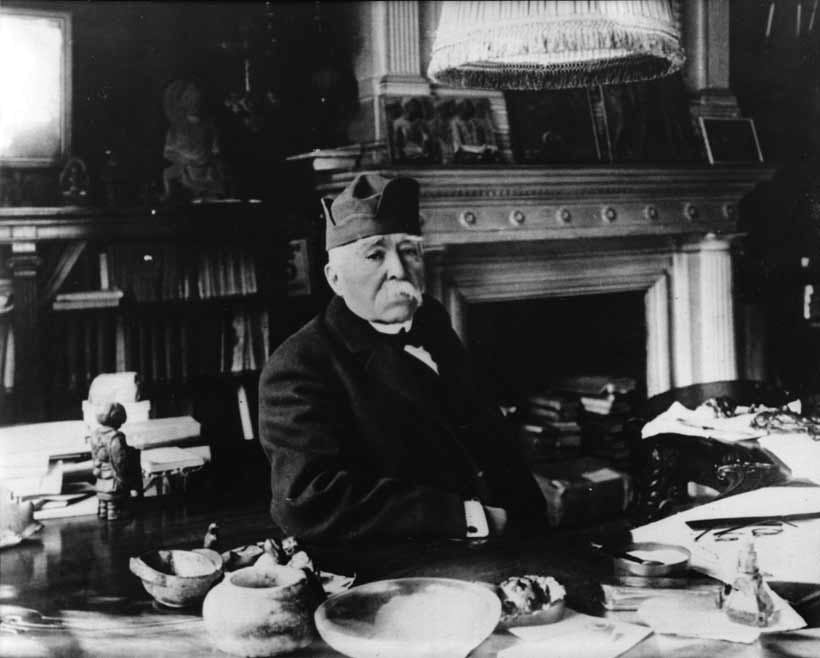 Clemenceau in his study, rue Franklin, Paris, 1925.