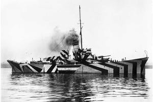 HMS Kildwick in dazzle camouflage. Two ships, the HMS President and the 'Edmund Gardner' in Liverpool, will be 'dazzled' this year as part of the cultural programme.