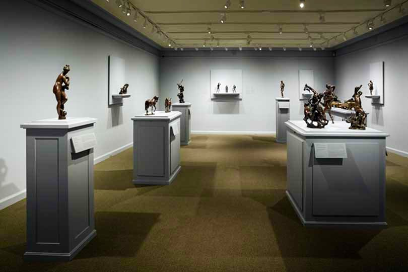 Installation view at the Frick Collection showing bronzes from the collection of Mr  and Mrs J. Tomilson Hill.