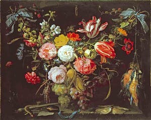 'A Swag of Flowers and Fruit representing the Four Elements' (late 1660s), Abraham Mignon. Jonny Van Haeften