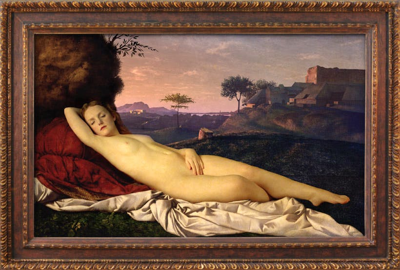 'Transforming Nude Painting' (dusk) (2013), after Giorgione 'Sleeping Venus' (c. 1510), Rob and Nick Carter.