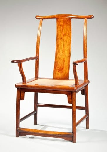 Huanghuali yoke back armchair with a backward sloping yoke. China, Late Ming dynasty, 16th century.
