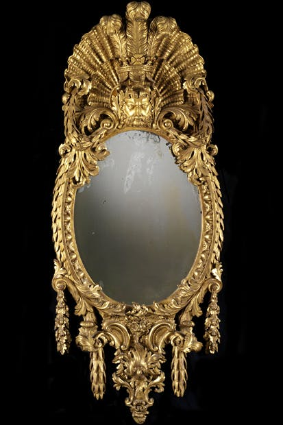 Mirror attributed to William Kent, probably for the White House, Kew, 1733–34. Carving attributed to John Boson. Gilt pine, mirror glass