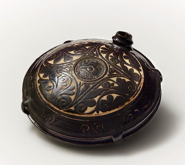Carved Cizhou-type Canteen (12th–13th century) China, Xixia Kingdom or Jin Dynasties.