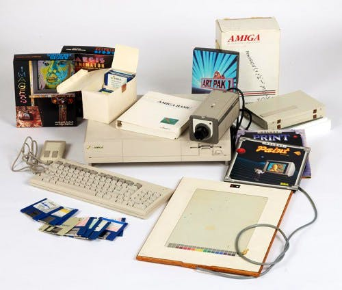 Commodore Amiga computer equipment used by Andy Warhol 1985-86
