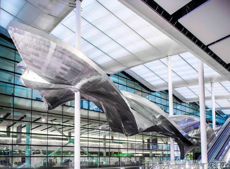 Richard Wilson's sculpture 'Slipstream', on permanent display at London's Heathrow Airport.
