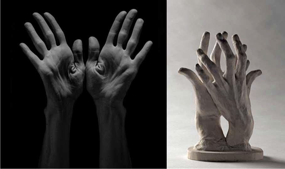 'Lucinda Childs', (1985), Robert Mapplethorpe, © 2014 Robert Mapplethorpe Foundation, Inc / 'Assemblage: deux mains gauches', Auguste Rodin, © Paris, musée Rodin, ph. C. Baraja