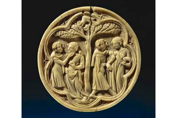 Lid of a mirror case with loving couples, (c. 1350), France,