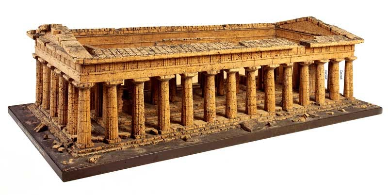 Cork model of the Temple of Zeus or Apollo, Paestum (c. 1820), attributed to Domenico Padiglione.