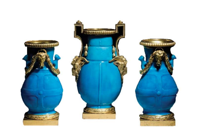Garniture of three vases (c. 1768), Sevres porcelain with ormolu mounts.