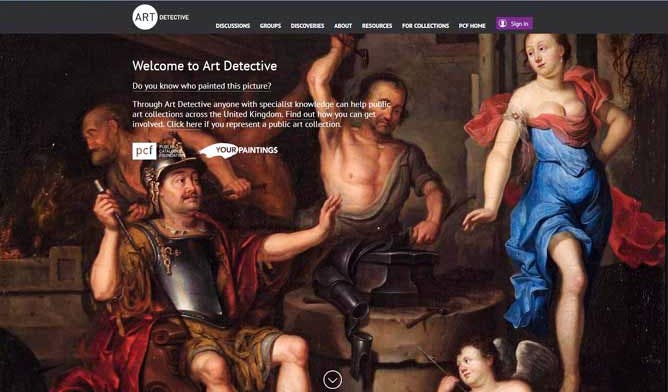 Screen shot of the new Art Detective website, which shows The Forge of Vulcan