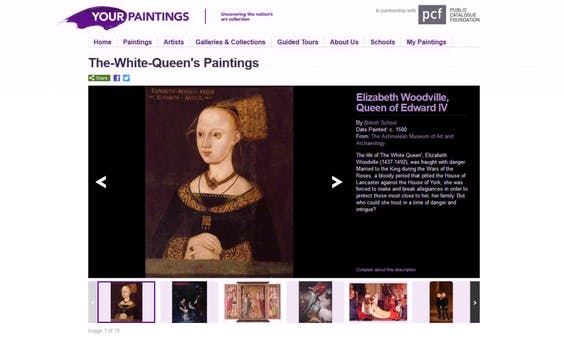 Screenshot of The White Queen's collection of paintings,  including Your Paintings' most popular work Elizabeth Woodville, Queen of Edward IV from The Ashmolean Museum of Art and Archaeology