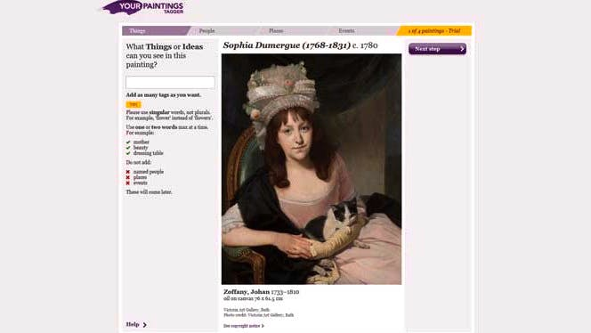 Screenshot of Your Paintings Tagger website
