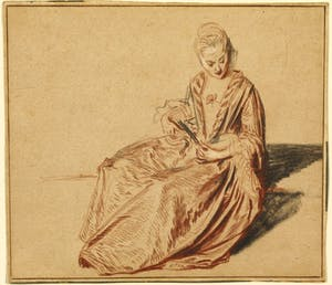 'Seated Woman with a Fan', (c. 1717), Jean-Antoine Watteau. The J. Paul Getty Museum, Los Angeles