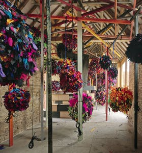 Installation view, 'Phyllida Barlow. GIG', Hauser & Wirth Somerset, 2014, © Phyllida Barlow. Courtesy the artist and Hauser & Wirth. Photo: Alex Delfanne
