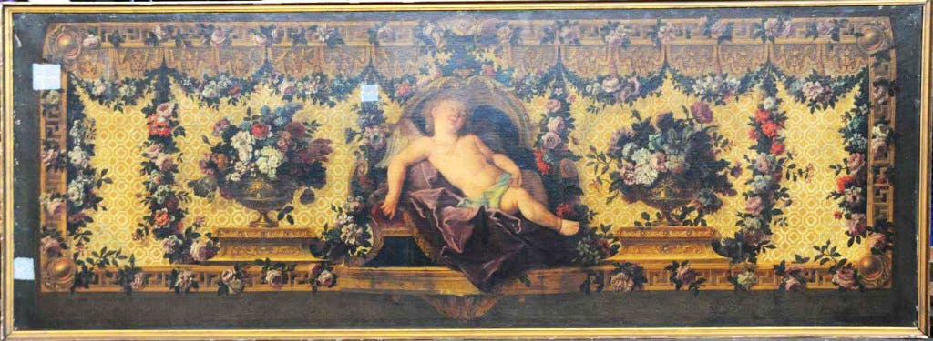 Model for the back of a sofa with Sleeping Cupid (c. 1720-1730), Charles Coypel with Claude Audran and Jean-Baptiste Blain de Fontenay.