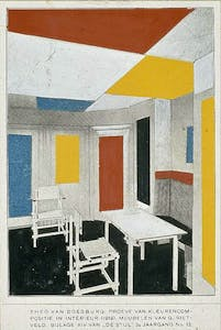 (1919/20), Theo van Doesburg (colour design) and Gerrit Rietveld (furniture).