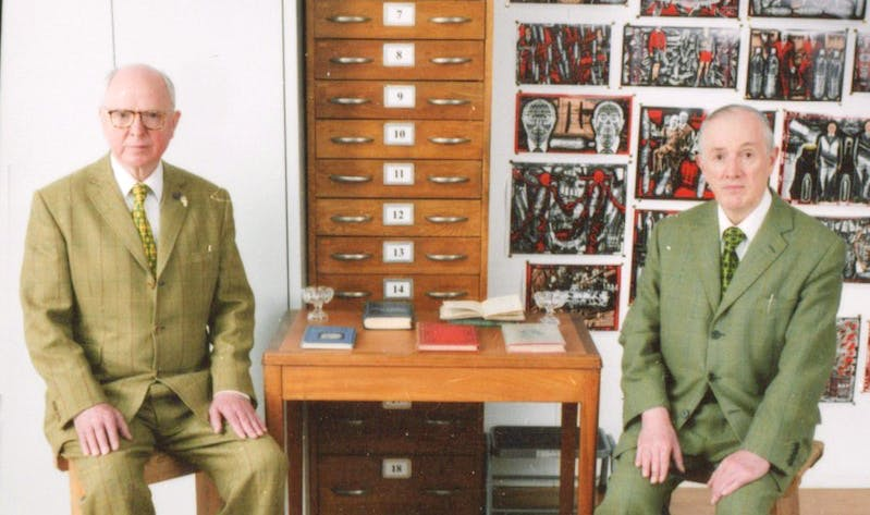 Gilbert & George photographed in their Fournier Street studio in London, June 2014 (detail)