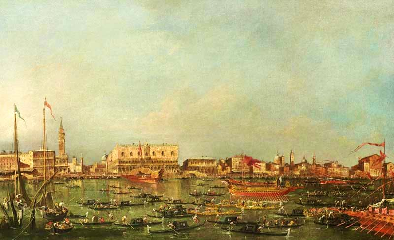 'The Bacino di San Marco, Venice, on Ascension Day, with the Bucintoro leaving for San Nicolò del Lido', Francesco Guardi. Charles Beddington Ltd