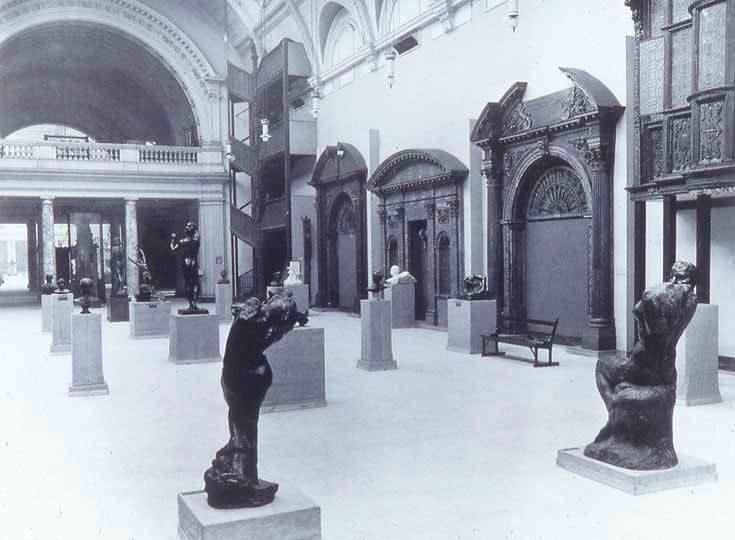 Room 48 at the V&A in 1914, showing the sculptures in the Rodin Gift as arranged by the sculptor himself