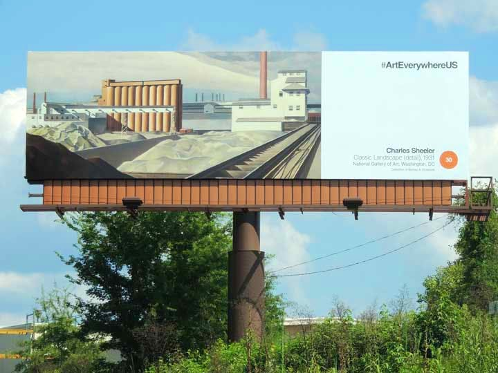 Art Everywhere US billboard in Columbia, South Carolina, featuring Charles Sheeler's Classic Landscape (1931, National Gallery of Art, Washington DC, Collection of Barney A. Ebsworth).