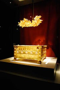 Golden larnax of Philip II of Macedon (382–336 BC) found and exhibited in Vergina, Greece.