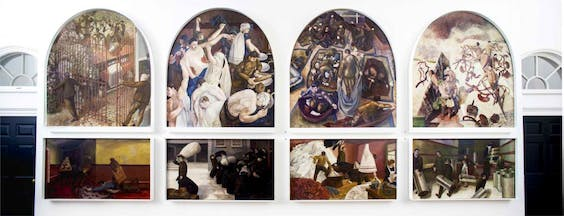 Stanley Spencer's paintings for the Sandham Memorial Chapel, on display at Somerset House (2014)