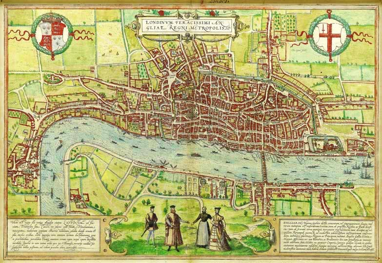 The Earliest Extant Plan of London (1574), Braun and Hogenberg.