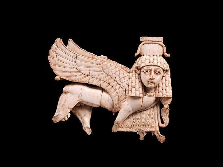 Openwork plaque with a striding sphinx (9th–8th century BC), South Syrian style, excavated at Nimrud (ancient Kalhu) © The Metropolitan Museum of Art, New York