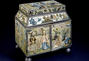 Embroidered box depicting the life of Abraham (before 1665), tentatively attributed to Miss Bluitt, later Mrs Payne