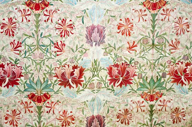 (detail, embroidery, c. 1880s), designed by William Morris, stitched by Jane and Jenny Morris