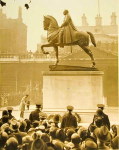 King George V laying a wreath at the monument to 'Field Marshal Earl Haig, Commander-in-Chief of the British Armies in France 1915-1918' by Alfred Hardiman, Armistice Day (1937)