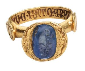 Medieval inscribed sapphire ring (late 14th century), Italy
