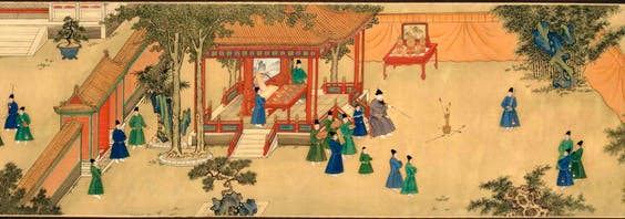 'Amusements in the Xuande emperor's palace' (detail showing the emperor playing an arrow-throwing game; Xuande period, 1426–1435), Anonymous © The Palace Museum