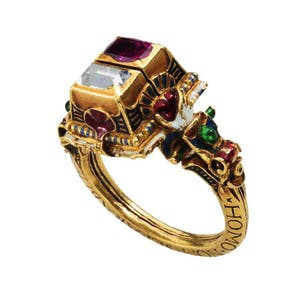 Renaissance Gimmel Ring with memento mori (1631), Germany