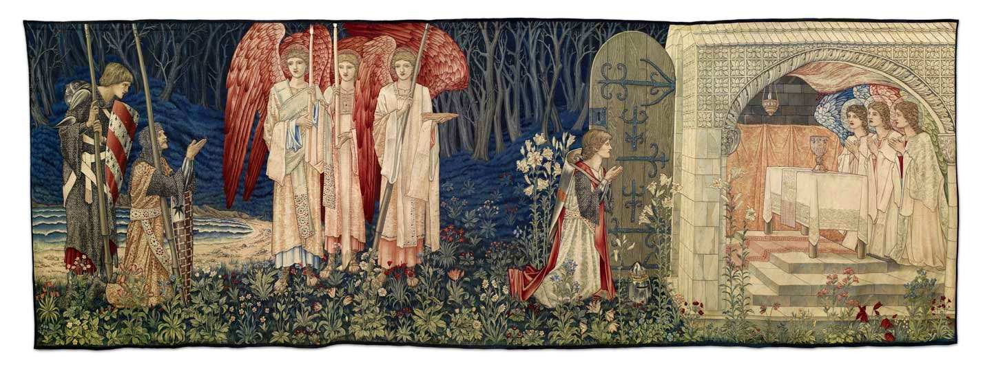 'Holy Grail Tapestry – Quest for the Holy Grail Tapestries – Panel 6 – The Attainment; The Vision of the Holy Grail to Sir Galahad, Sir Bors and Sir Percival' (1895–96), William Morris