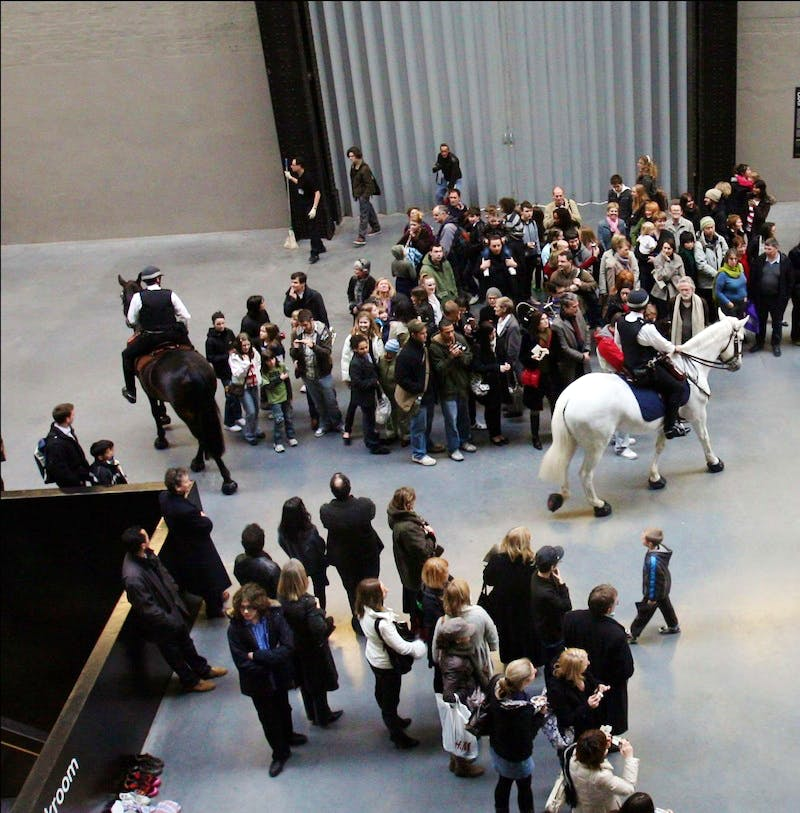 Tania Bruguera's 'Tatlin's Whisper #5', staged in the Turbine Hall at tate Modern, London in 2008